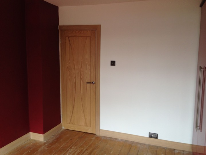 Oak door, skirting, frame, architrave